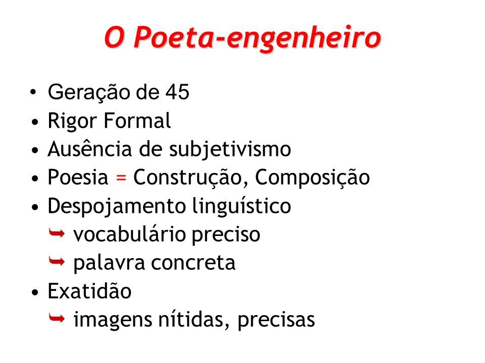 O Poeta-engenheiro Geração de 45 Rigor Formal Ausência de subjetivismo Poesia = Construção, Composição Despojamento linguístico vocabulário preciso pa