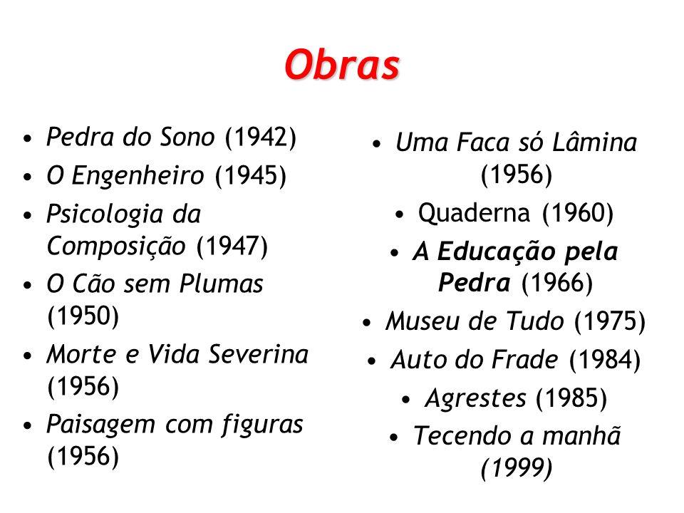 Obras Pedra do Sono (1942) O Engenheiro (1945) Psicologia da Composição (1947) O Cão sem Plumas (1950) Morte e Vida Severina (1956) Paisagem com figur