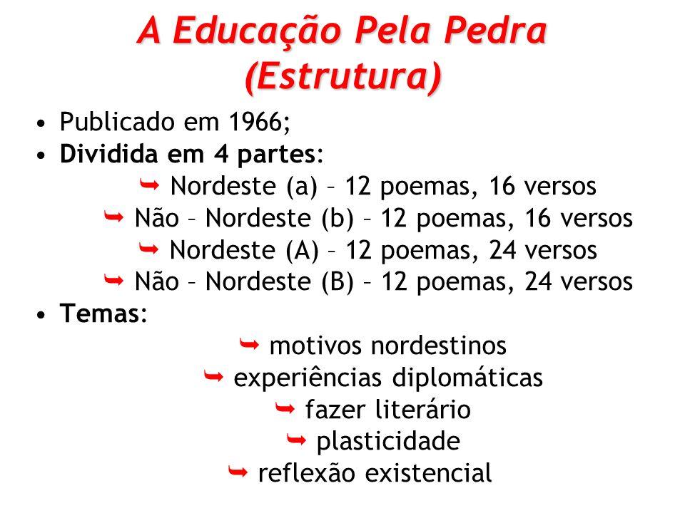 A Educação Pela Pedra (Estrutura) Publicado em 1966; Dividida em 4 partes: Nordeste (a) – 12 poemas, 16 versos Não – Nordeste (b) – 12 poemas, 16 vers