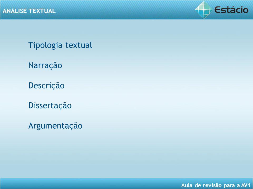 ANÁLISE TEXTUAL Aula de revisão para a AV1 Tipologia textual Narração Descrição Dissertação Argumentação