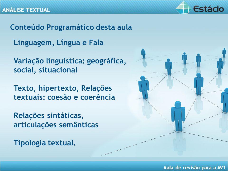 ANÁLISE TEXTUAL Aula de revisão para a AV1 ANALISE TEXTUAL Aula de revisão para a AV1 Conteúdo Programático desta aula Linguagem, Língua e Fala Variaç
