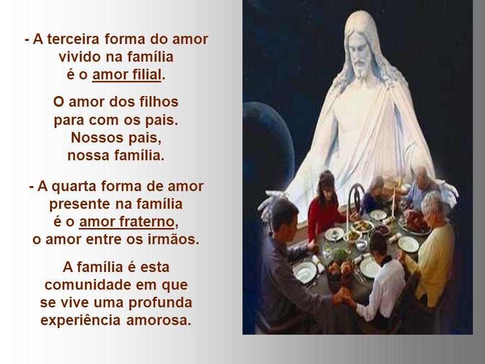 A primeira e mais fundamental realização do amor é o amor conjugal. O amor do homem e da mulher que se doam e se recebem constituindo assim uma comuni