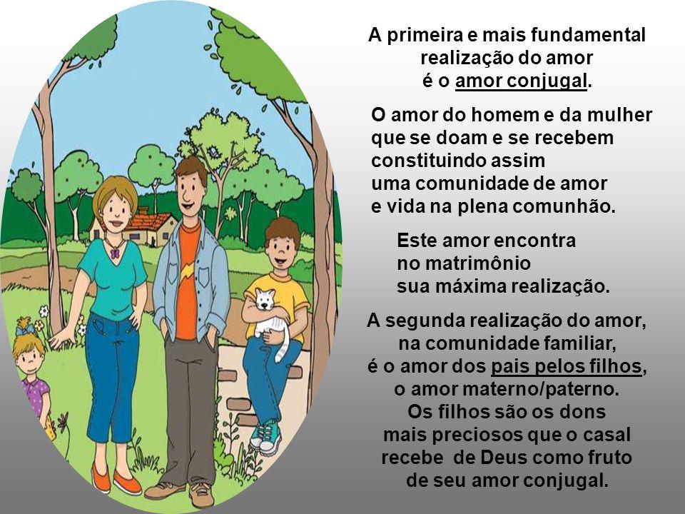 Família, fundamento do amor: A família é o lugar privilegiado do amor. Nela se realiza a vida de amor do ser humano, homem e mulher, criado à imagem e