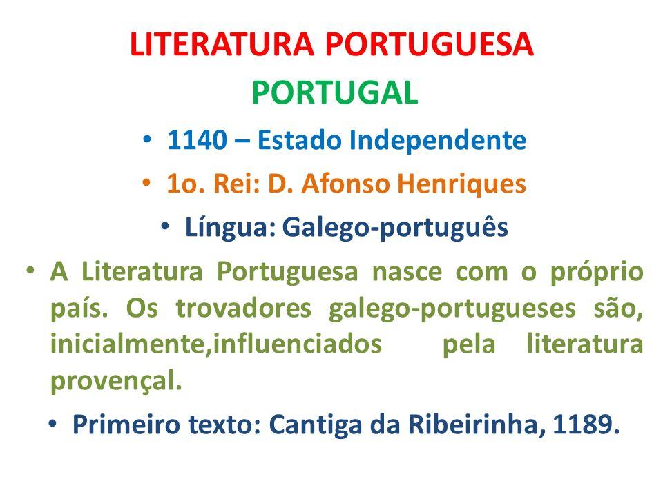 LITERATURA PORTUGUESA PORTUGAL 1140 – Estado Independente 1o. Rei: D. Afonso Henriques Língua: Galego-português A Literatura Portuguesa nasce com o pr