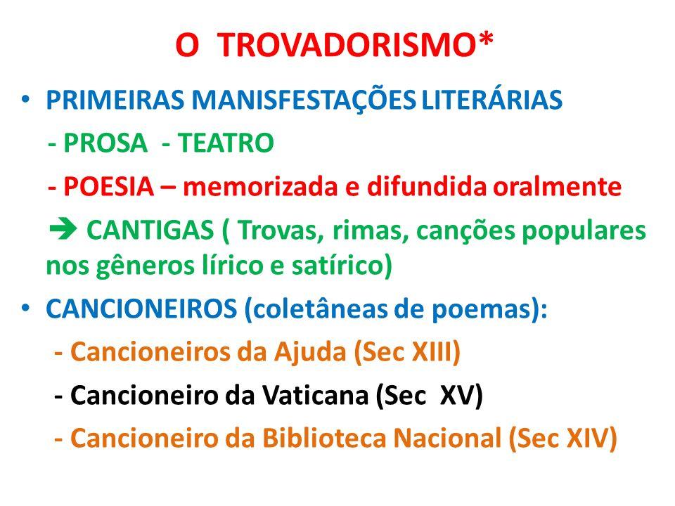 O TROVADORISMO* PRIMEIRAS MANISFESTAÇÕES LITERÁRIAS - PROSA - TEATRO - POESIA – memorizada e difundida oralmente CANTIGAS ( Trovas, rimas, canções pop