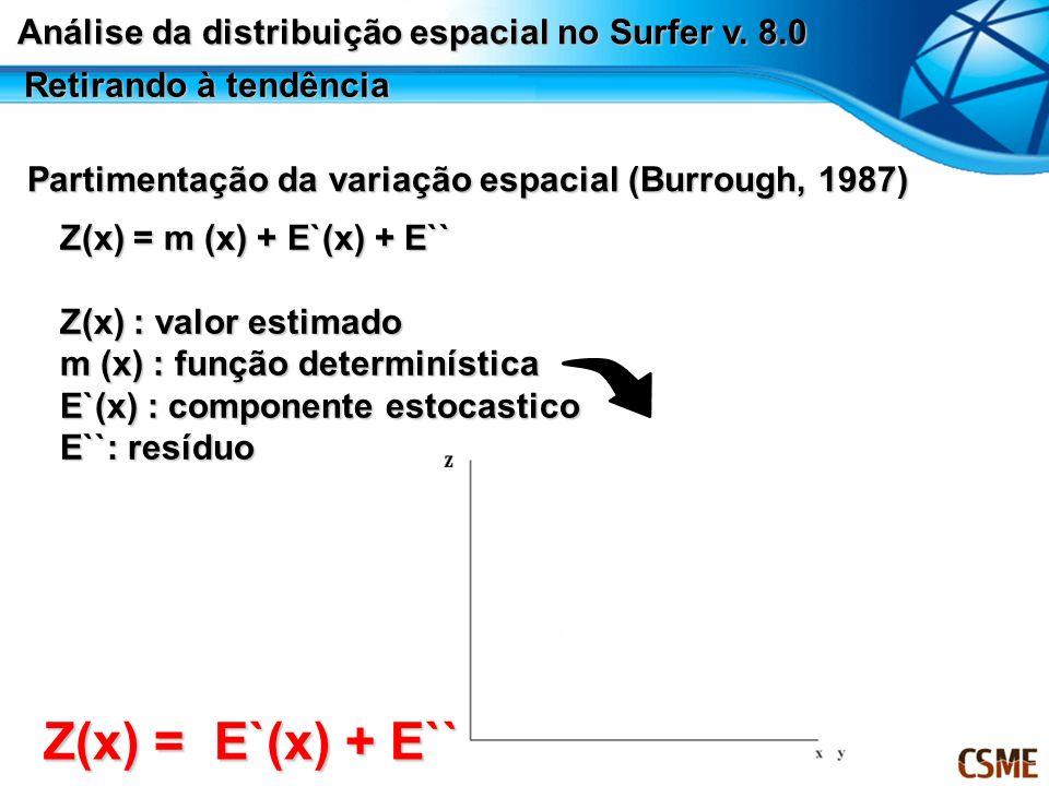 Retirando à tendência Partimentação da variação espacial (Burrough, 1987) Z(x) = m (x) + E`(x) + E`` Z(x) : valor estimado m (x) : função determinísti