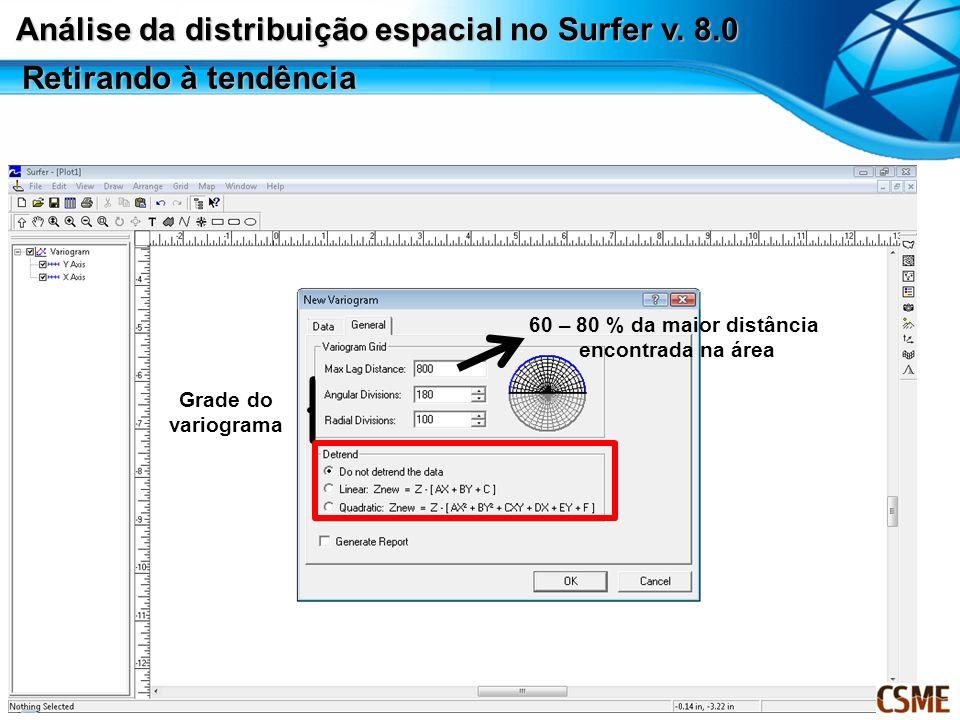 60 – 80 % da maior distância encontrada na área Grade do variograma Retirando à tendência Análise da distribuição espacial no Surfer v. 8.0