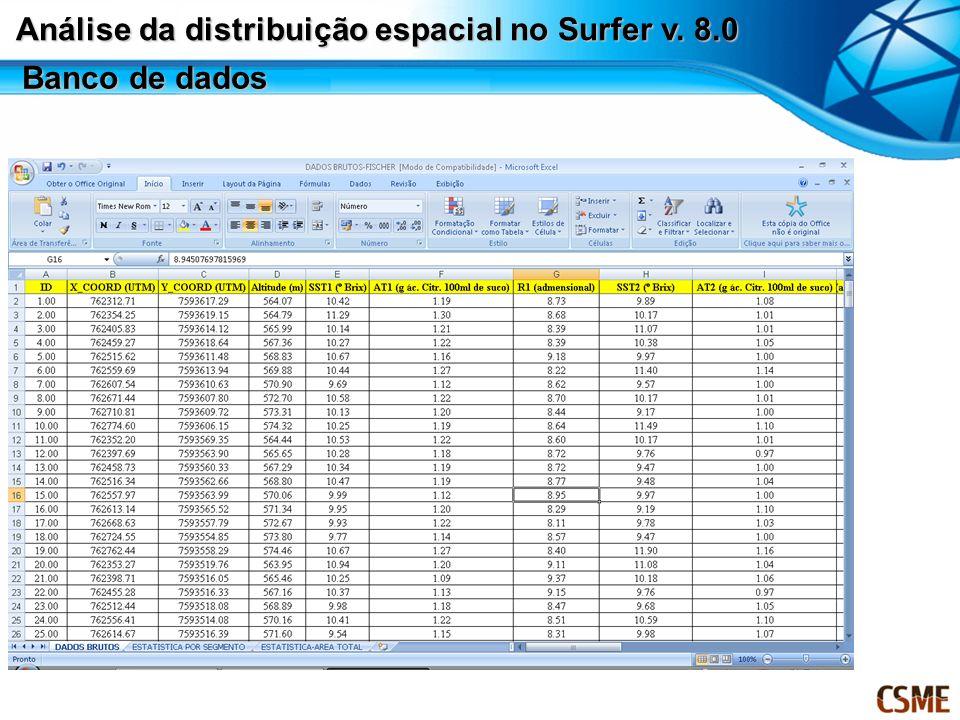 Banco de dados Análise da distribuição espacial no Surfer v. 8.0