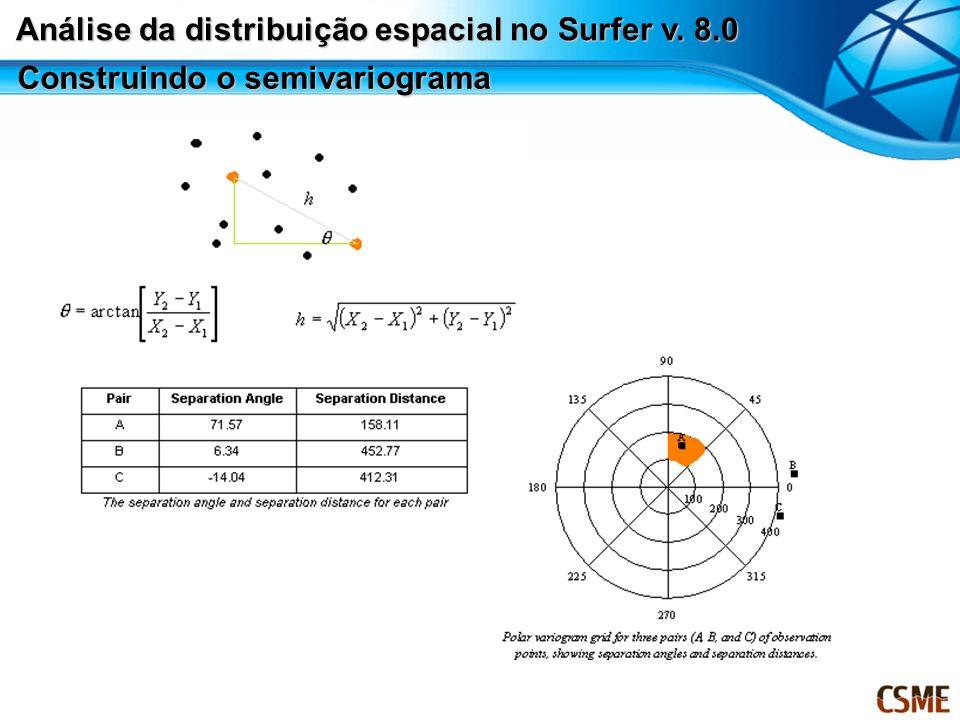 Construindo o semivariograma Análise da distribuição espacial no Surfer v. 8.0