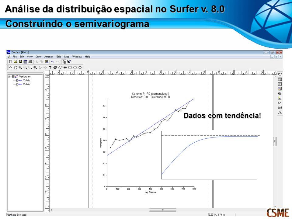Construindo o semivariograma Dados com tendência! Análise da distribuição espacial no Surfer v. 8.0
