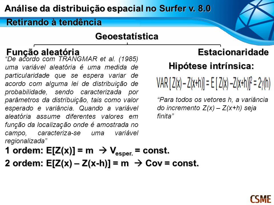 Retirando à tendência Geoestatística Função aleatória Estacionaridade De acordo com TRANGMAR et al. (1985) uma variável aleatória é uma medida de part