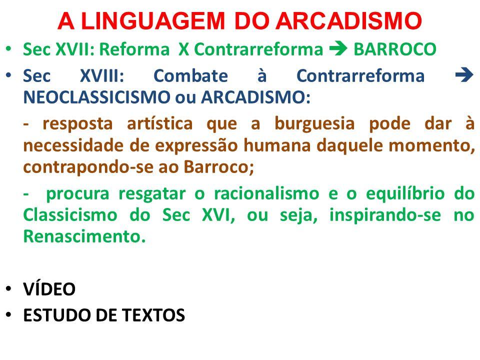 A LINGUAGEM DO ARCADISMO Sec XVII: Reforma X Contrarreforma BARROCO Sec XVIII: Combate à Contrarreforma NEOCLASSICISMO ou ARCADISMO: - resposta artíst