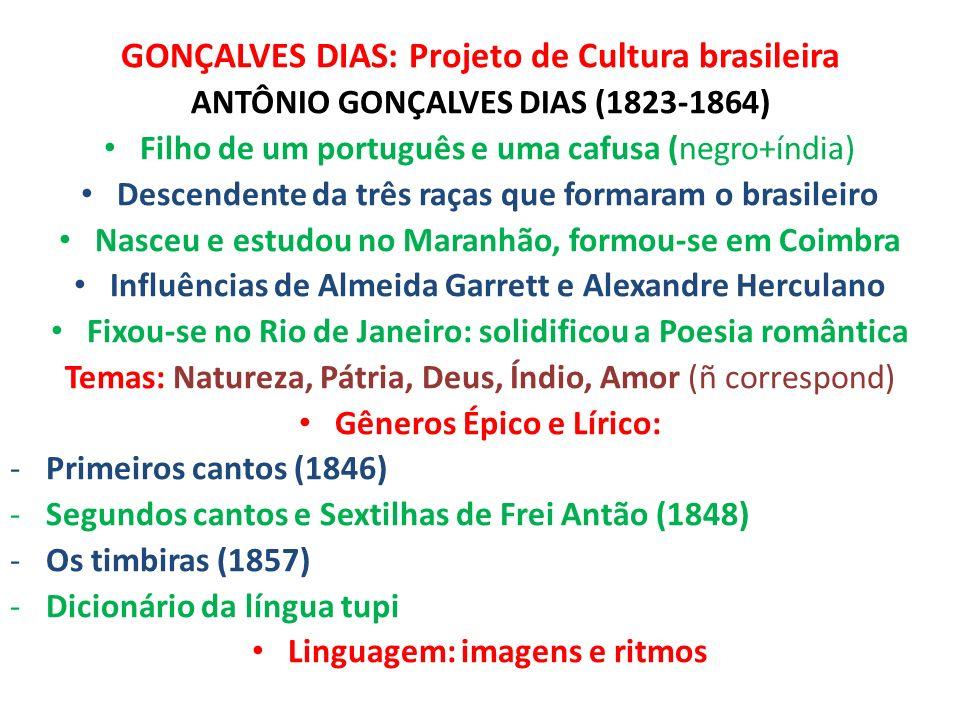 GONÇALVES DIAS: Projeto de Cultura brasileira ANTÔNIO GONÇALVES DIAS (1823-1864) Filho de um português e uma cafusa (negro+índia) Descendente da três