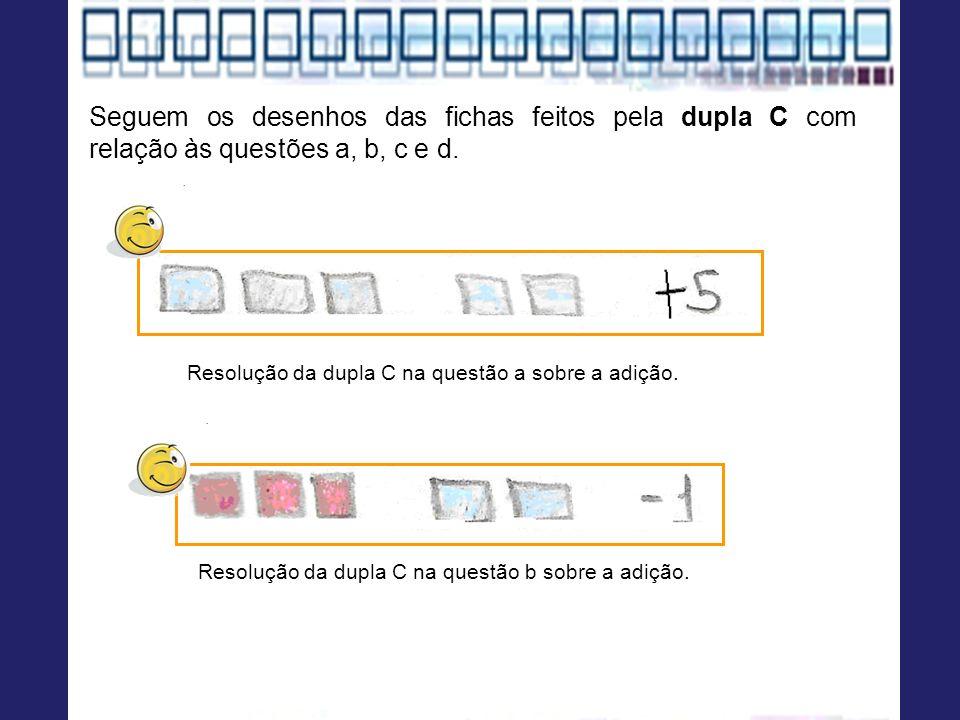 Resolução da dupla C na questão a sobre a adição. Seguem os desenhos das fichas feitos pela dupla C com relação às questões a, b, c e d. Resolução da