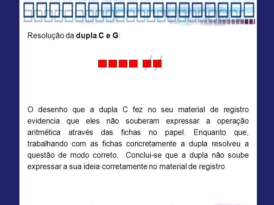 Resolução da dupla C e G: O desenho que a dupla C fez no seu material de registro evidencia que eles não souberam expressar a operação aritmética atra
