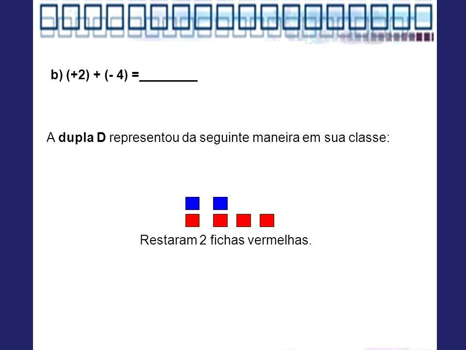 A dupla D representou da seguinte maneira em sua classe: Restaram 2 fichas vermelhas. b) (+2) + (- 4) =________