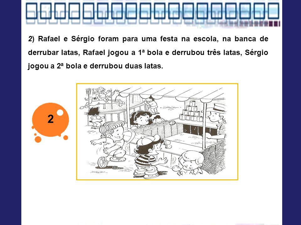 2) Rafael e Sérgio foram para uma festa na escola, na banca de derrubar latas, Rafael jogou a 1ª bola e derrubou três latas, Sérgio jogou a 2ª bola e