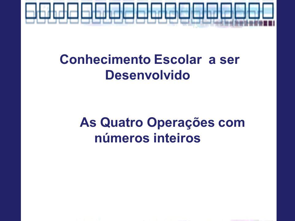 Conhecimento Escolar a ser Desenvolvido As Quatro Operações com números inteiros