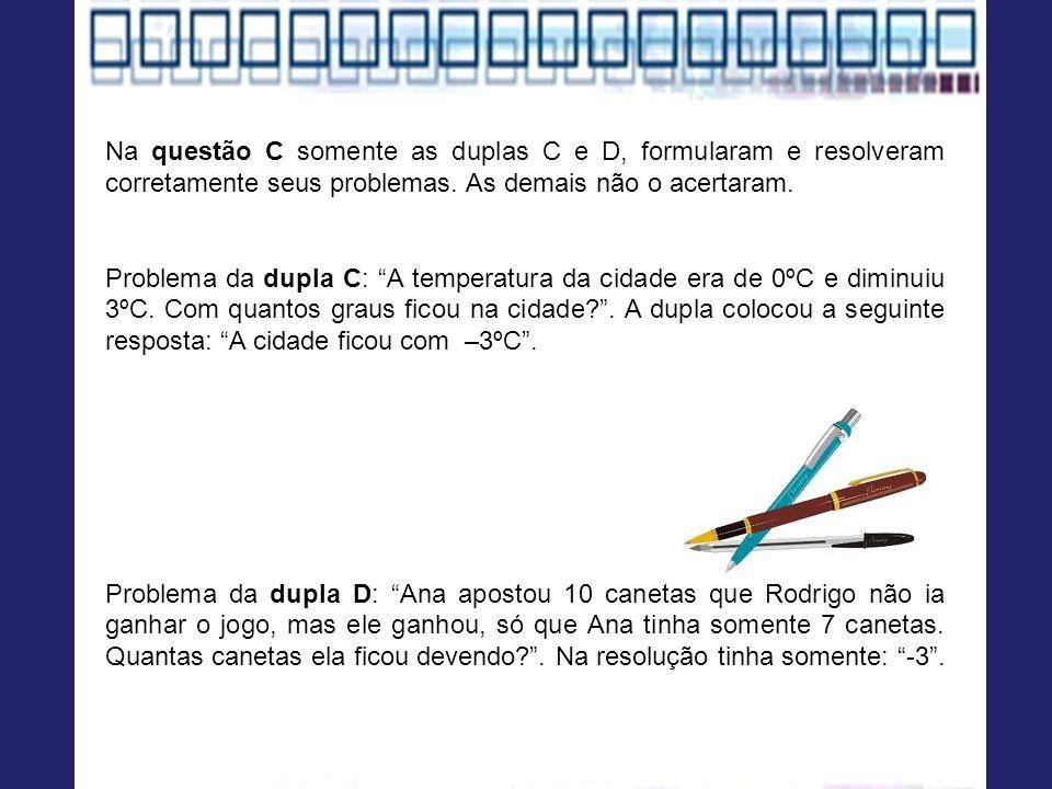 Na questão C somente as duplas C e D, formularam e resolveram corretamente seus problemas. As demais não o acertaram. Problema da dupla C: A temperatu