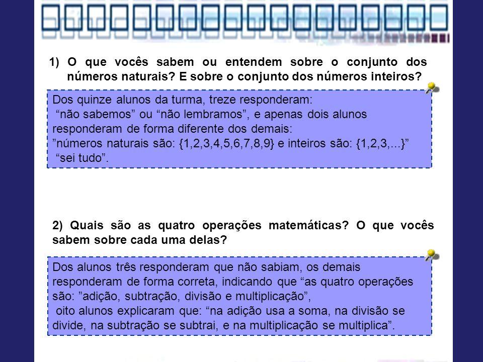1) O que vocês sabem ou entendem sobre o conjunto dos números naturais? E sobre o conjunto dos números inteiros? Dos quinze alunos da turma, treze res