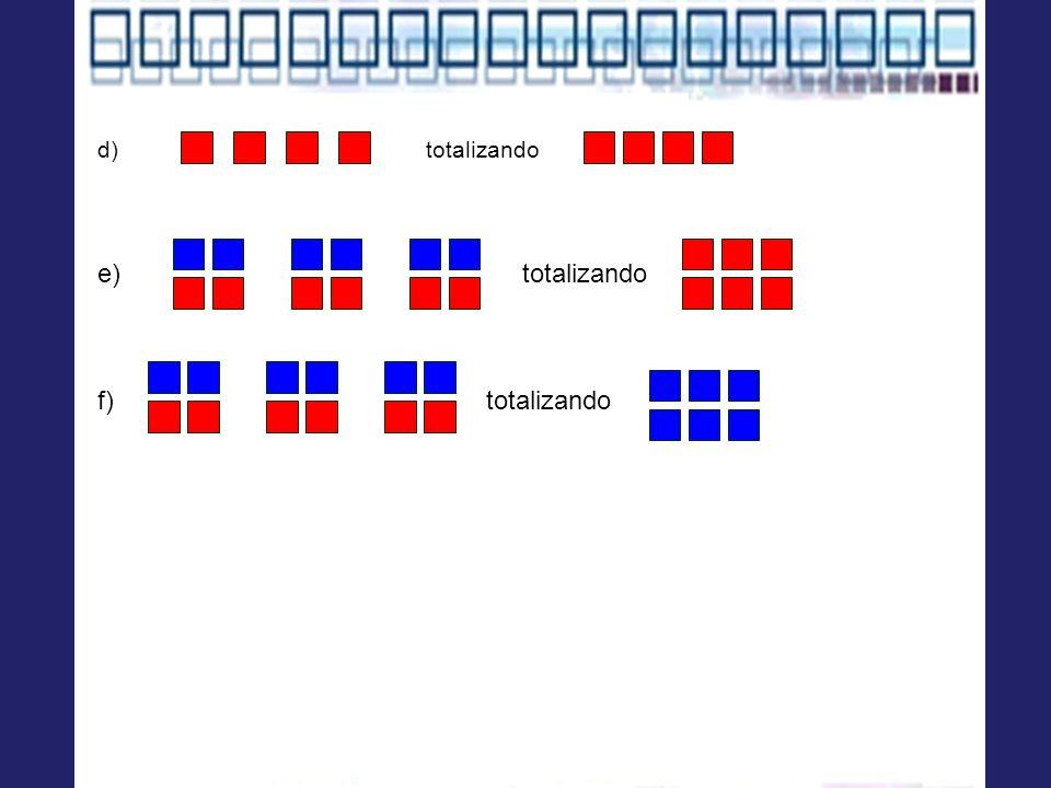 d) totalizando e) totalizando f) totalizando