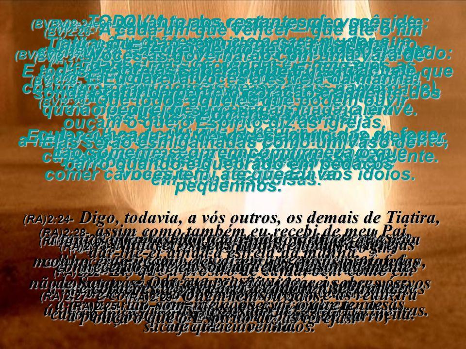 (BV)2:12- Escreva esta carta ao líder da igreja em Pérgamo: Esta mensagem vem daquele que empunha a afiada espada de dois gumes. (RA)2:12- Ao anjo da