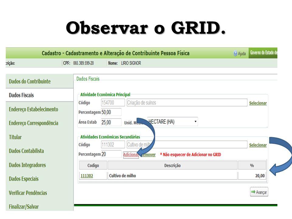Observar o GRID.