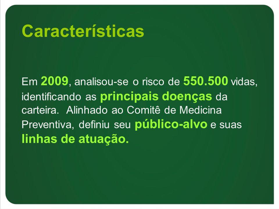 Características Em 2009, analisou-se o risco de 550.500 vidas, identificando as principais doenças da carteira. Alinhado ao Comitê de Medicina Prevent