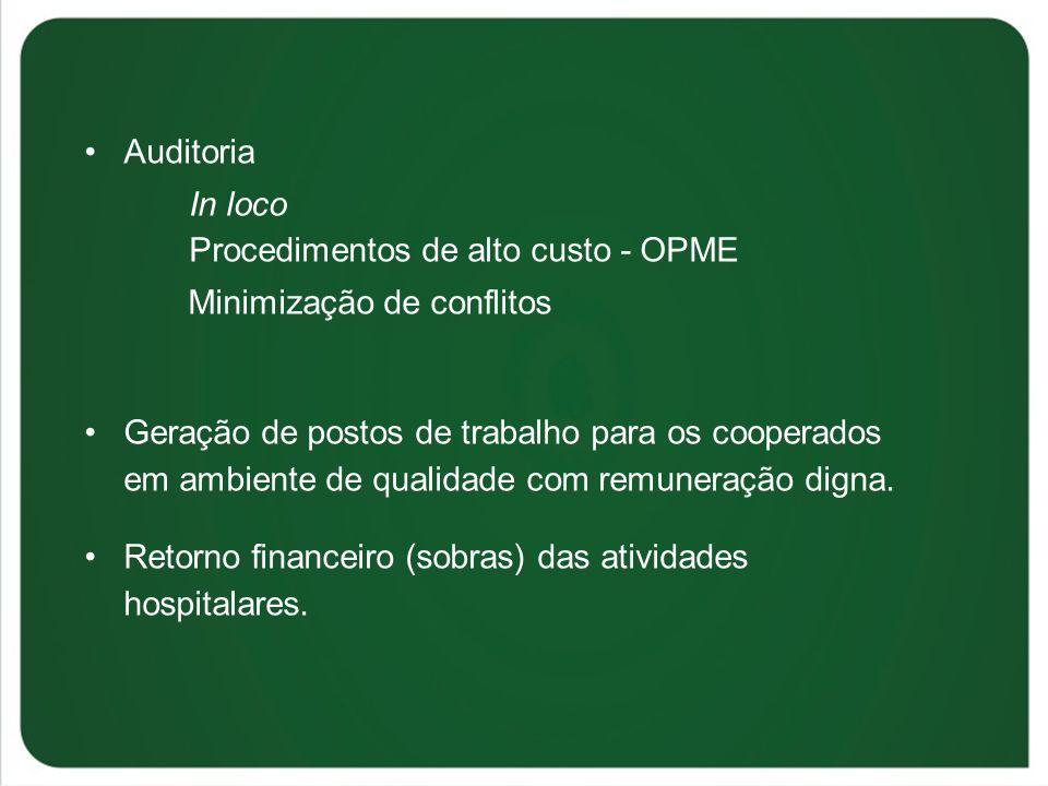 Auditoria In loco Procedimentos de alto custo - OPME Minimização de conflitos Geração de postos de trabalho para os cooperados em ambiente de qualidad