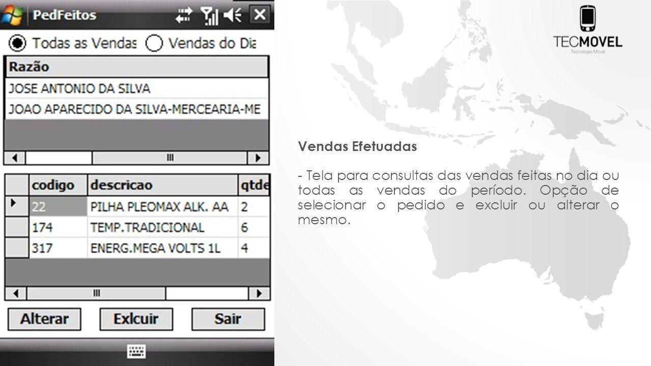 Vendas Efetuadas - Tela para consultas das vendas feitas no dia ou todas as vendas do período.