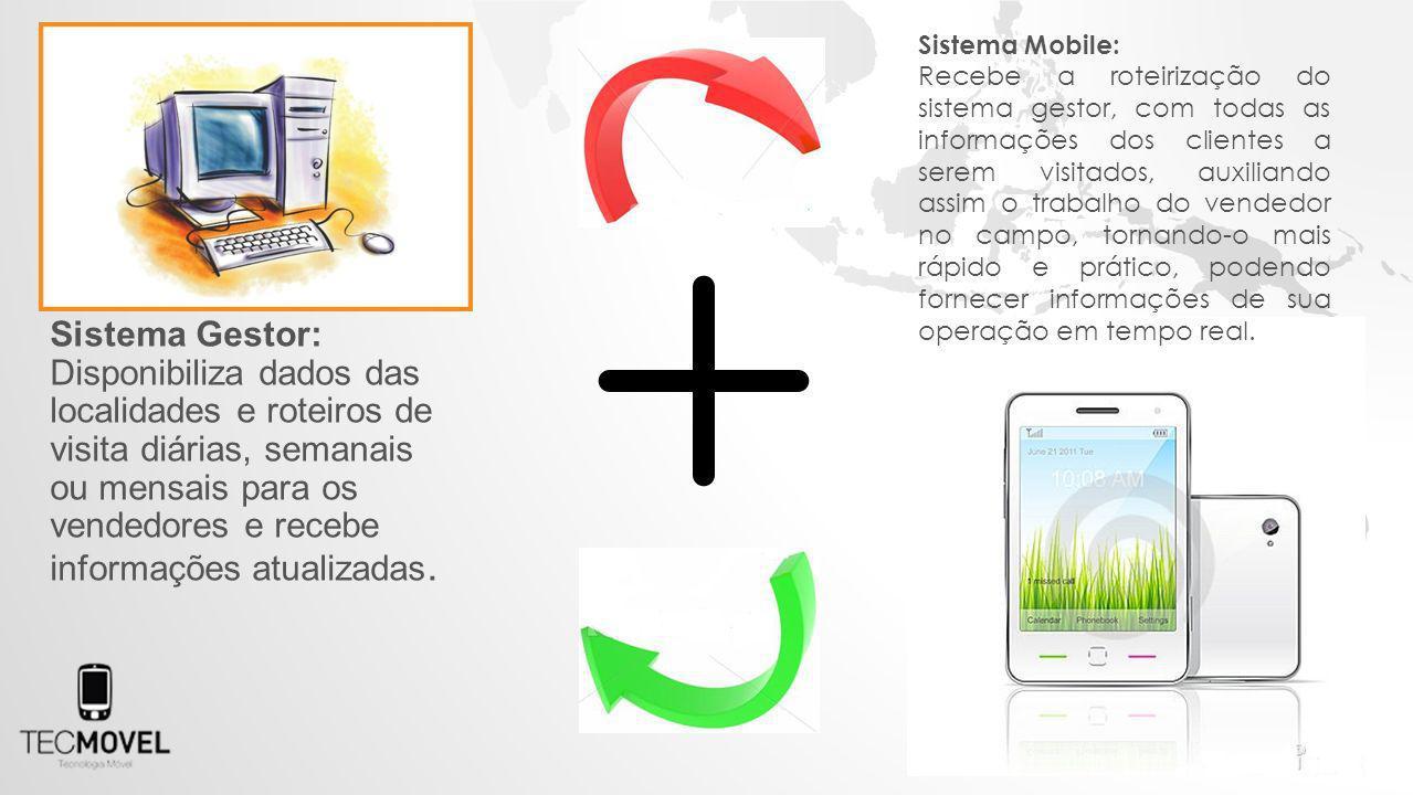 Sistema Gestor: Disponibiliza dados das localidades e roteiros de visita diárias, semanais ou mensais para os vendedores e recebe informações atualizadas.