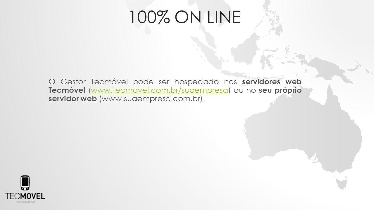 O Gestor Tecmóvel pode ser hospedado nos servidores web Tecmóvel (www.tecmovel.com.br/suaempresa) ou no seu próprio servidor web (www.suaempresa.com.br).www.tecmovel.com.br/suaempresa 100% ON LINE