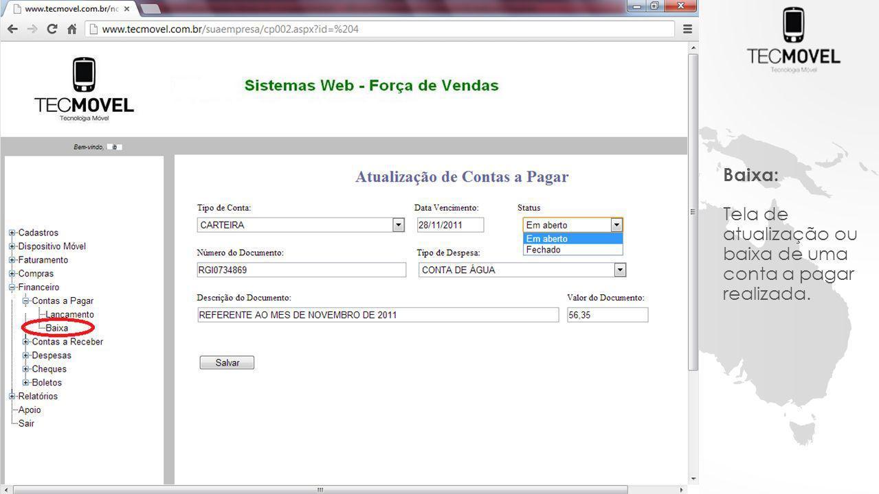 Baixa: Tela de atualização ou baixa de uma conta a pagar realizada.