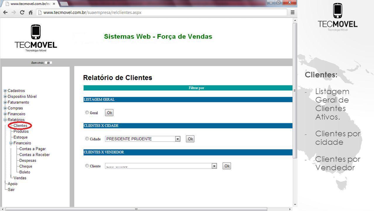 Clientes: - Listagem Geral de Clientes Ativos. - Clientes por cidade - Clientes por Vendedor