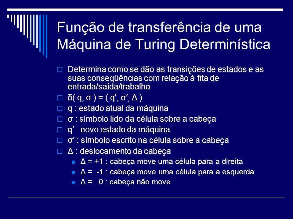 Função de transferência de uma Máquina de Turing Determinística Determina como se dão as transições de estados e as suas conseqüências com relação à f