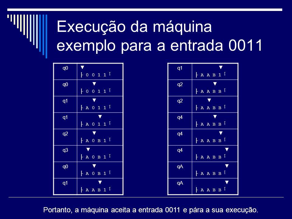Execução da máquina exemplo para a entrada 0011 q0 0 0 1 1 ٱ q0 0 0 1 1 ٱ q1 A 0 1 1 ٱ q1 A 0 1 1 ٱ q2 A 0 B 1 ٱ q3 A 0 B 1 ٱ q0 A 0 B 1 ٱ q1 A A B 1