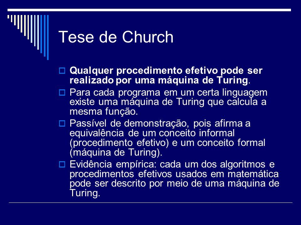 Tese de Church Qualquer procedimento efetivo pode ser realizado por uma máquina de Turing. Para cada programa em um certa linguagem existe uma máquina