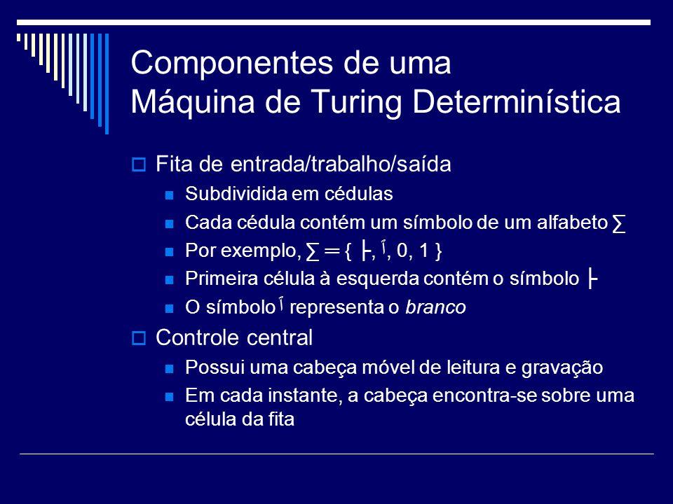 Componentes de uma Máquina de Turing Determinística Fita de entrada/trabalho/saída Subdividida em cédulas Cada cédula contém um símbolo de um alfabeto