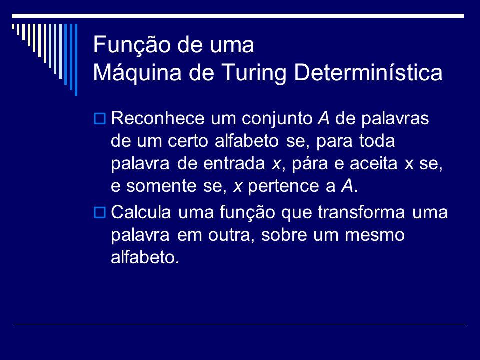 Função de uma Máquina de Turing Determinística Reconhece um conjunto A de palavras de um certo alfabeto se, para toda palavra de entrada x, pára e ace