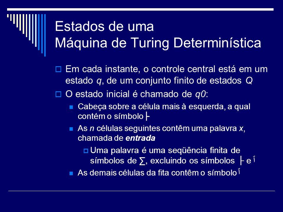 Estados de uma Máquina de Turing Determinística Em cada instante, o controle central está em um estado q, de um conjunto finito de estados Q O estado