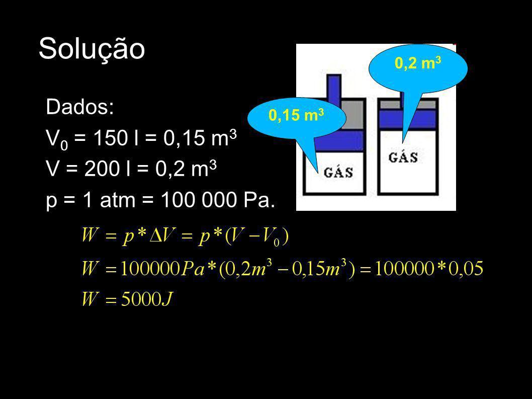 Solução Dados: V 0 = 150 l = 0,15 m 3 V = 200 l = 0,2 m 3 p = 1 atm = 100 000 Pa. 0,15 m 3 0,2 m 3