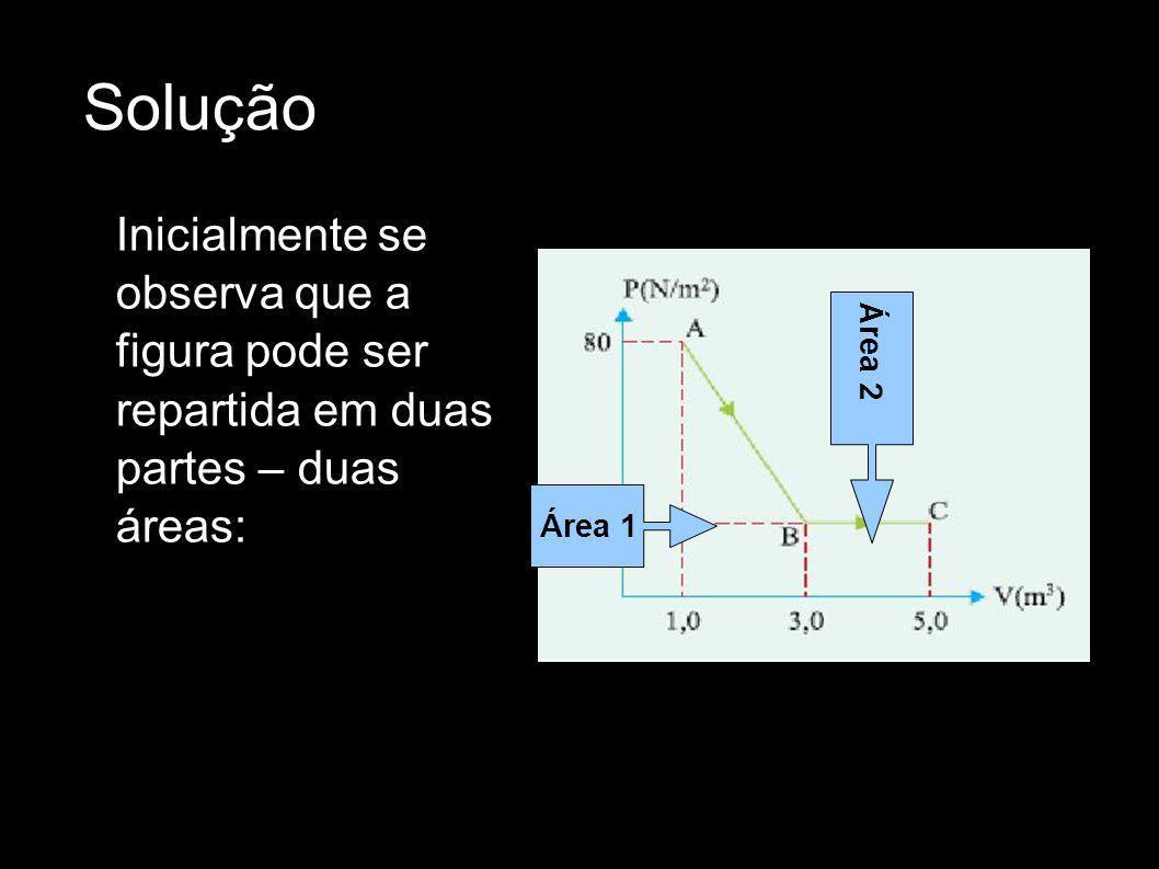 Solução Inicialmente se observa que a figura pode ser repartida em duas partes – duas áreas: Área 1 Área 2