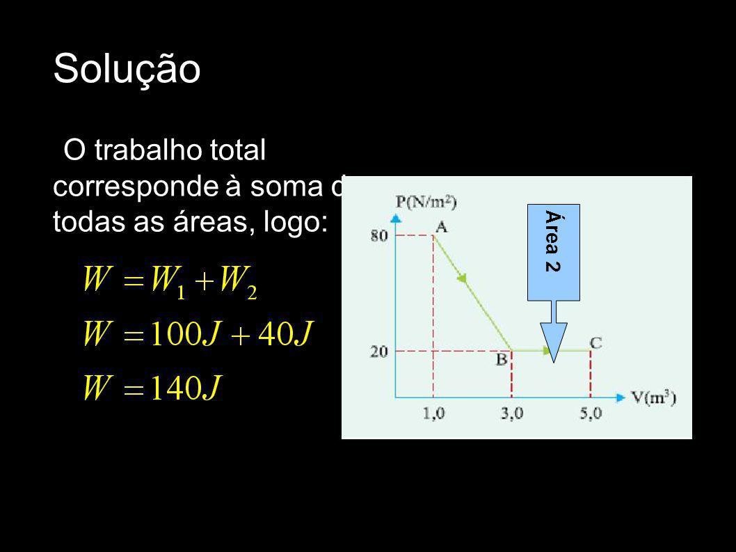 Solução O trabalho total corresponde à soma de todas as áreas, logo: Área 2