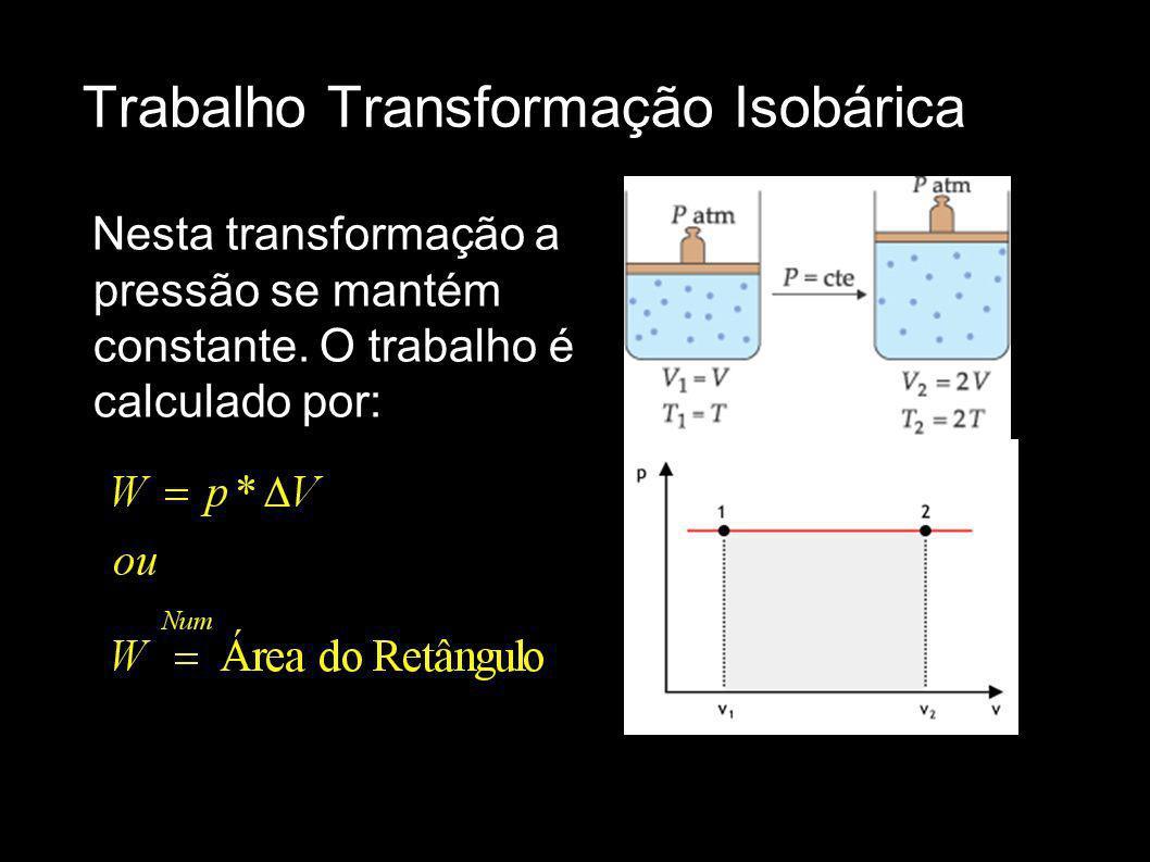 Trabalho Transformação Isobárica Nesta transformação a pressão se mantém constante. O trabalho é calculado por: