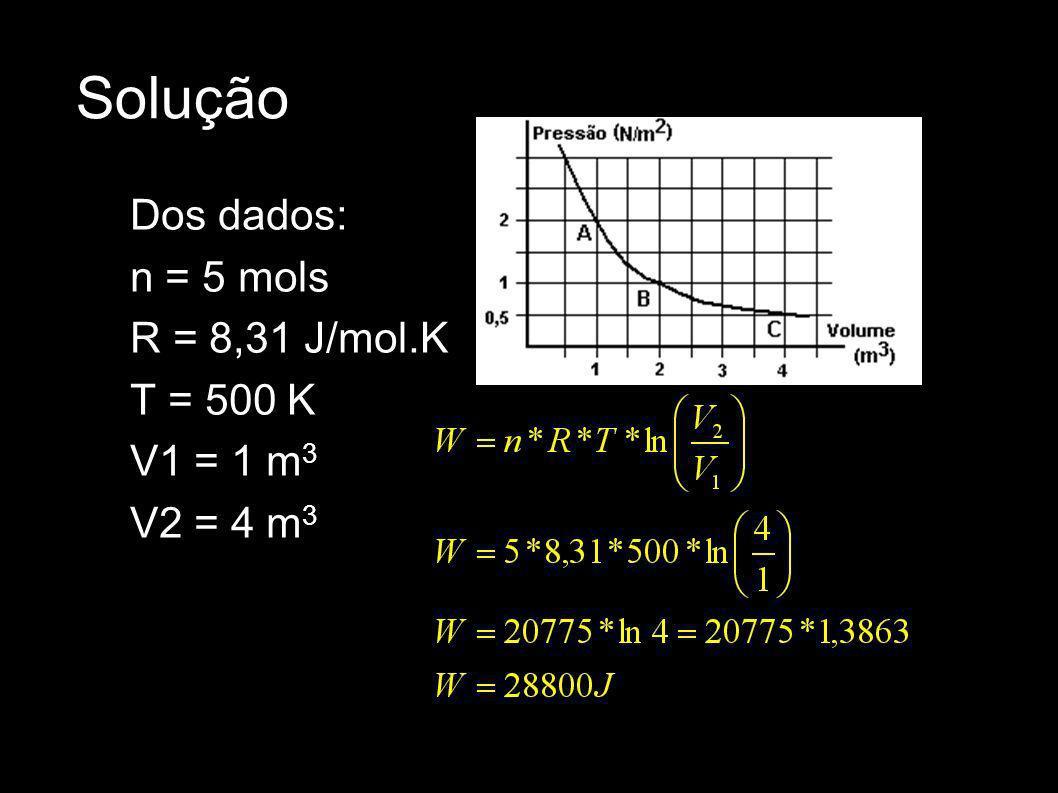 Solução Dos dados: n = 5 mols R = 8,31 J/mol.K T = 500 K V1 = 1 m 3 V2 = 4 m 3