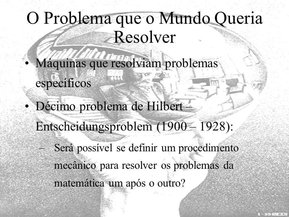 O Problema que o Mundo Queria Resolver Máquinas que resolviam problemas específicos Décimo problema de Hilbert – Entscheidungsproblem (1900 – 1928): –