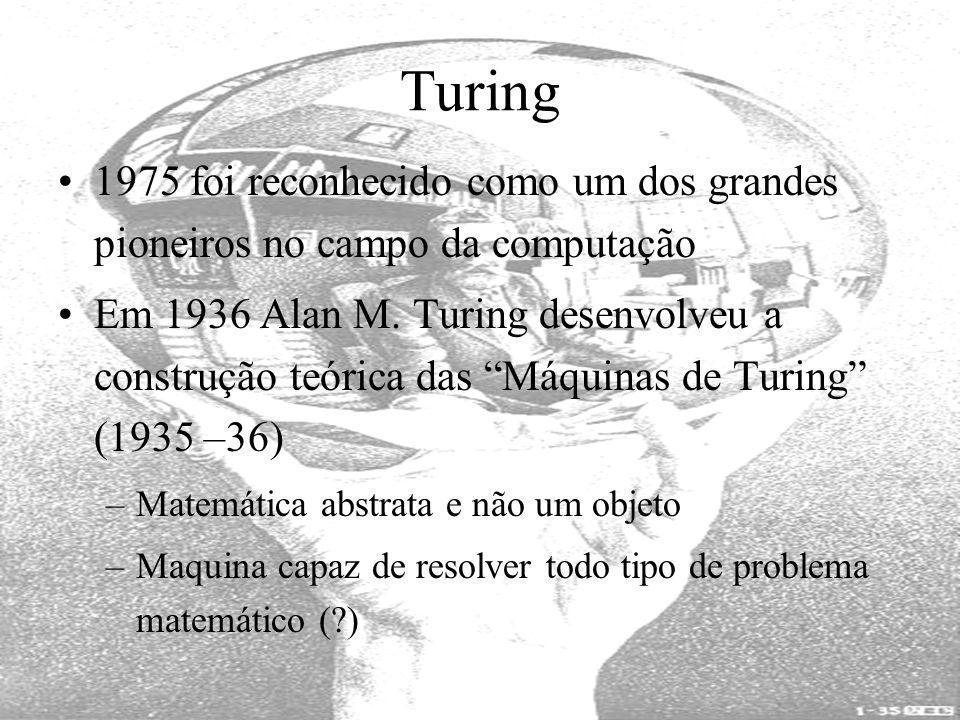 Turing 1975 foi reconhecido como um dos grandes pioneiros no campo da computação Em 1936 Alan M. Turing desenvolveu a construção teórica das Máquinas
