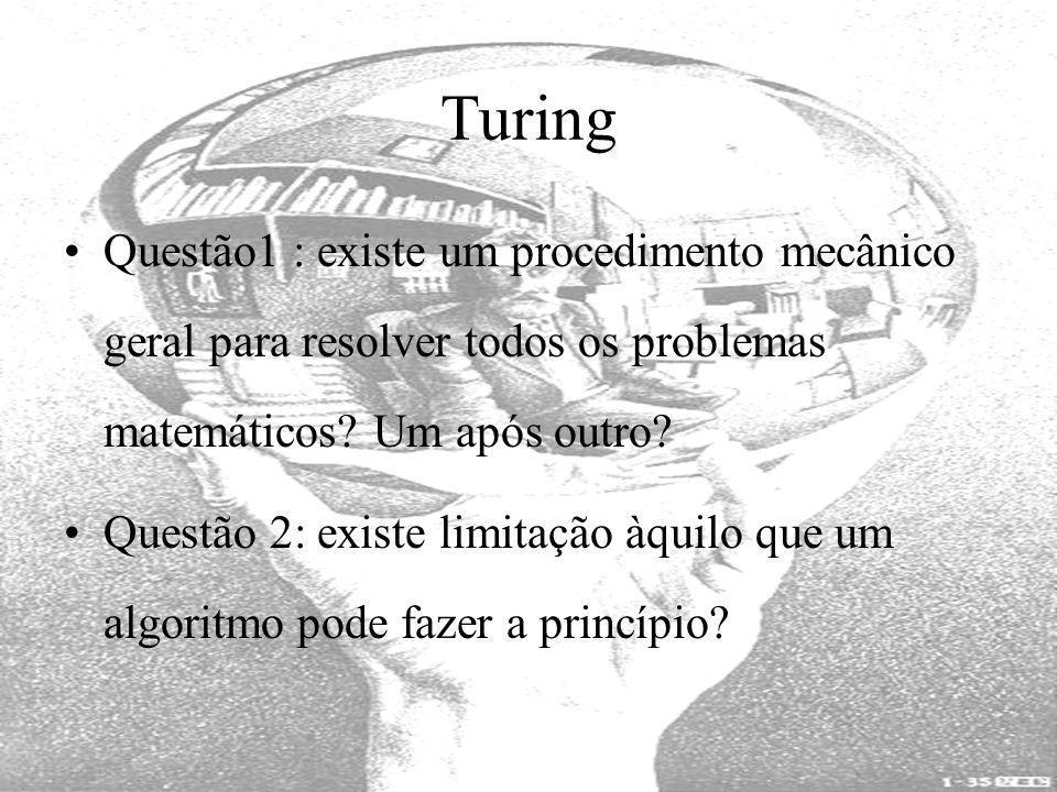 Turing Questão1 : existe um procedimento mecânico geral para resolver todos os problemas matemáticos? Um após outro? Questão 2: existe limitação àquil