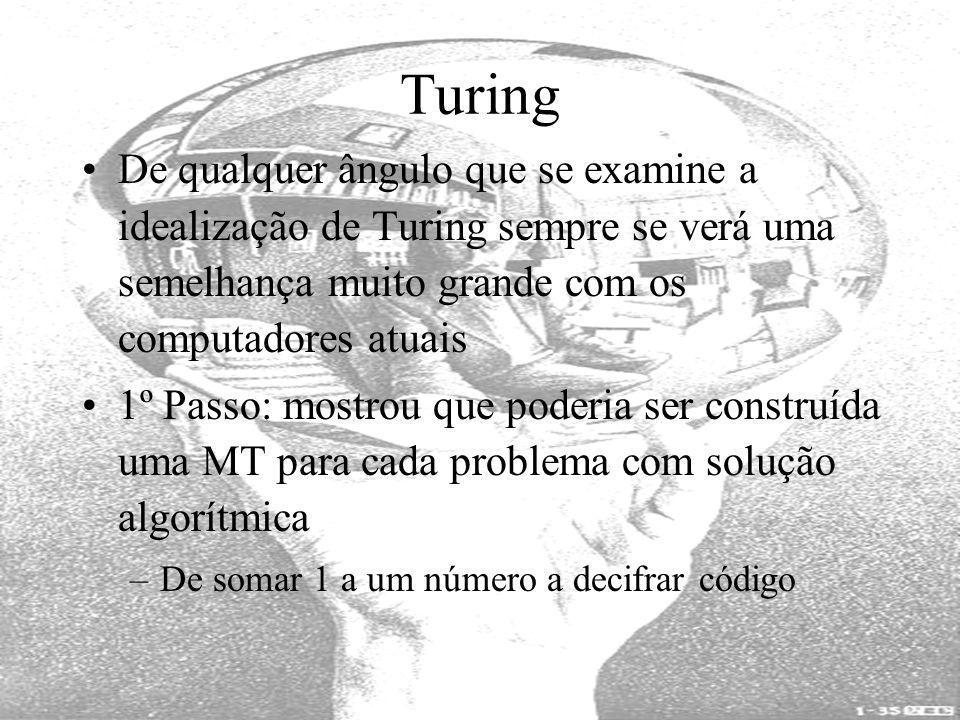Turing De qualquer ângulo que se examine a idealização de Turing sempre se verá uma semelhança muito grande com os computadores atuais 1º Passo: mostr