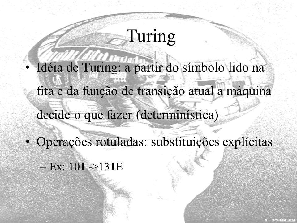 Turing Idéia de Turing: a partir do símbolo lido na fita e da função de transição atual a máquina decide o que fazer (determinística) Operações rotula